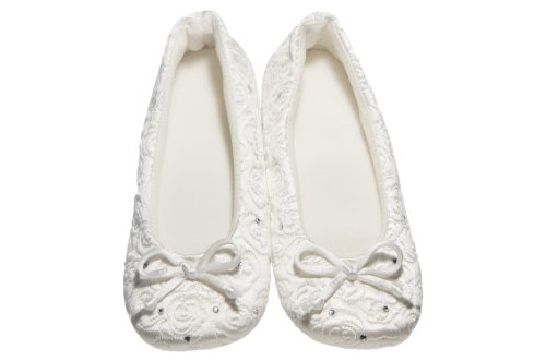 Rose Quilted Ballerina with Rhinestones (Large, White)