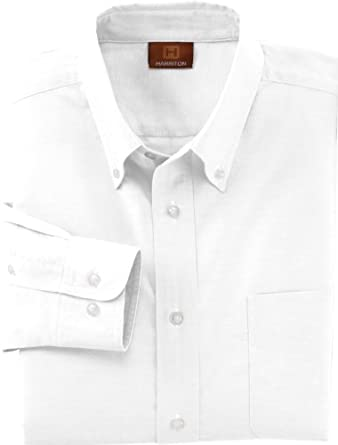 Harriton M600S Short-Sleeve Oxford with Stain Release-White-X-Small