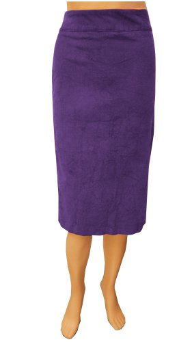 Baby'O Women's Stretch Plush Corduroy Pencil Skirt Violet XX-Large (1X) Image