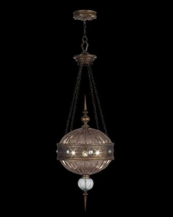 Fine Art Lamps 575940, Byzance Large Blown Glass Round Pendant, 3 Light, 300 Total Watts, Bronze