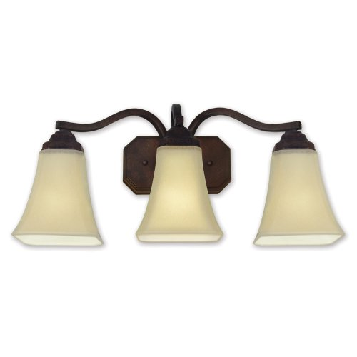 Good Earth Lighting G1633-Bz-I Metropolitan 21-3/4-Inch 3-Light Vanity with Three 3-Watt GU24 Bulb, Antique Bronze