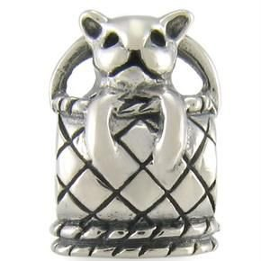 Authentic OHM Kitty Cat in Basket 925 Sterling Silver Bead fits European Charm Bracelet