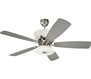 Monte Carlo 5EXR60BSD-L Explorer  DC Ceiling Fan with Limiter, Bulbs and Silver Blades, Brushed Steel