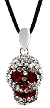Crystal 3D Skull Pendant with silk cord necklace 16-20 inches by GlitZ JewelZ © - Clear Crystals color - it takes more than 85 crystals to make this BLING!! - treat yourself or a friend with this wonderful pendant - packed in a lovely velvet pouch