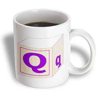 Florene - Childrens Wooden Block Letters - Print Of Large Retro Purple Q And Lower Case Q - Mugs - 15Oz Mug - Mug_194588_2 front-386473