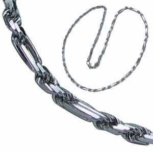 14kt White Gold Milano Rope Men's Chain
