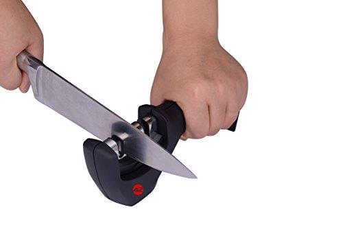4Z 3 Stage Kitchen Knife Sharpener - Best Professional Chefs Choice Black