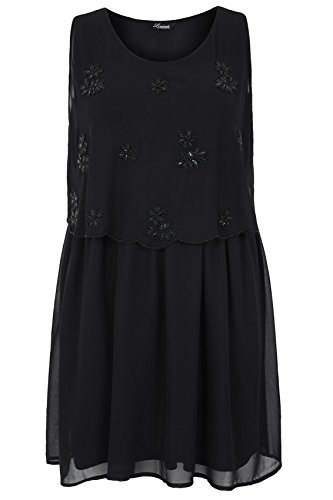 Yours Clothing Women's Plus-Size Black Chiffon Layered Dress