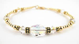 April Diamond Birthstone 14K Gold Swarovski Crystal Handmade Beaded Bracelets - MEDIUM 7 1/4 In.