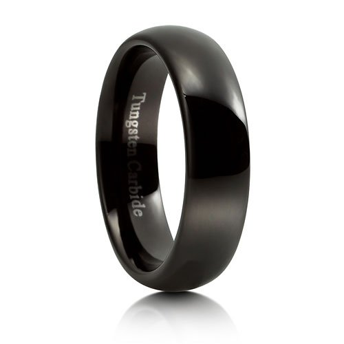 Dome Design Polished Comfort Fit Black Tungsten Carbide Ring Band 6 mm