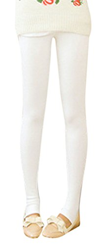 Womens Girls Slim Crop Capris Jeans Leggings In Cotton Blend One Size White front-722028