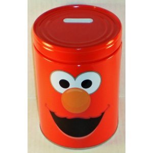Sesame Street Elmo Round Tin Bank with Easy-Off Lid - 1
