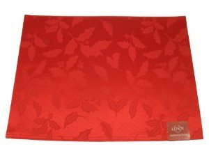 Lenox Holly Damask Placemat, Red front-815429