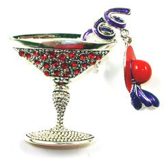 Ruby red austrian rhinestone red hat martini for Red hat bling jewelry