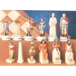 DELUXE HAND PAINTED EGYPTIAN V. ROMAN CHESSMEN SET