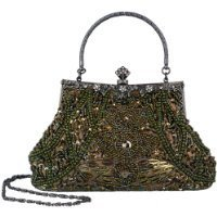 Exquisite Seed Bead Sequined Leaf Evening Handbag, Clasp Purse Clutch W/Hidden Handle and Chain (Olive Green)