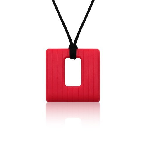Siliconies Square Pendant (Teething/Nursing/Sensory) - Ruby Red