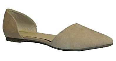 Breckelle's Dolley-03 Designer Inspired Pointy Toe D'orsay Flat,6 B(M) US,Taupe-23.Taupe-23