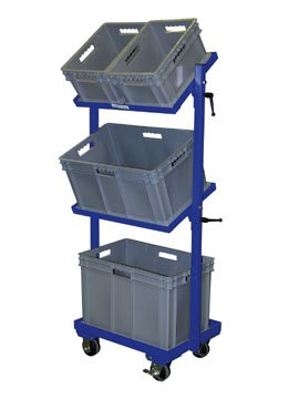 "Beacon Multi-Tier Stock Cart; Shelf Size (WxL): 16"" x 24""; Total Capacity (LBS): 200; Castor Sizes: 4"" x 2""; Basket Sizes: (1) 15-1/2""W x 23-1/2""L x 16-1/2""H; (1) 15-1/2""W x 23-1/2""L x 12-1/2""H; Model# BTSCT-2B"