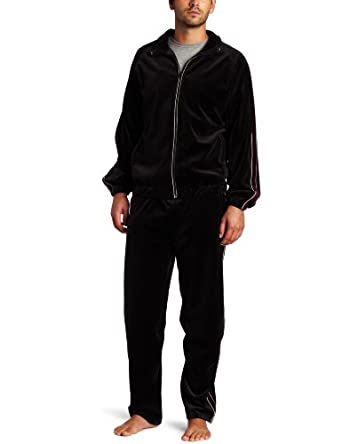 Majestic International Men's Classic Velour Zip Pajama Set, Night, Small