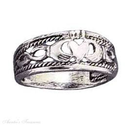 Sterling Silver Braided Claddagh Band Ring Size 9