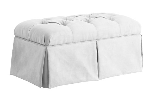 Skyline Furniture Velvet Skirted Storage Bench, White (Skyline Outdoor Furniture compare prices)