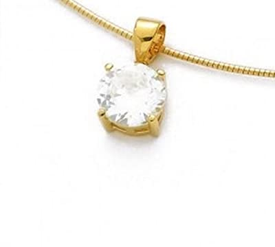 Simply Glamorous Jewellery-18ct Gold Filled Pendant 3.15 ct Simulated Diamond 18'' Chain