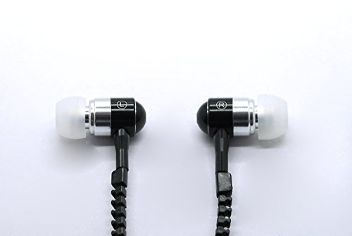 New Style Stereo 3.5Mm Jack Earbuds Earphones With Mic And Premium Tangle-Free Zipper Earphones (Black)
