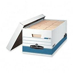 Bankers Box Stor/File Storage Box, Letter, Locking Lid, White/Blue, 4/Carton