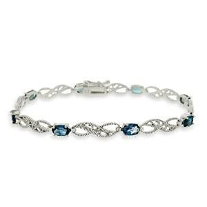 Sterling Silver 4.4ct London Blue Topaz & Diamond Accent Filigree Infinity Bracelet