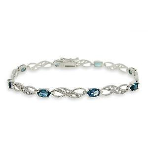 Sterling Silver 4.4ct London Blue Topaz & Diamond Accent Filigree Infinity Bracelet
