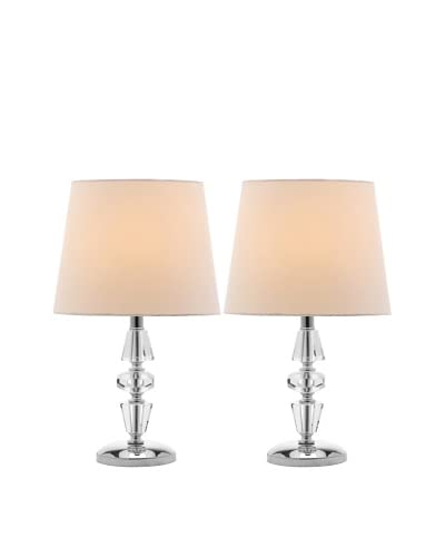 Safavieh Set of 2 Crescendo Tiered Crystal Lamps, Chrome/White