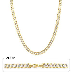40.50gm 14k Two Tone Gold Men's Heavy Cuban Pave Chain 26