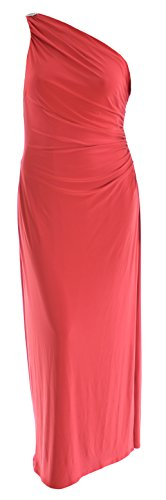 Ralph Lauren Women'S One Shoulder Matte Jersey Long Gown, Size 18, Red