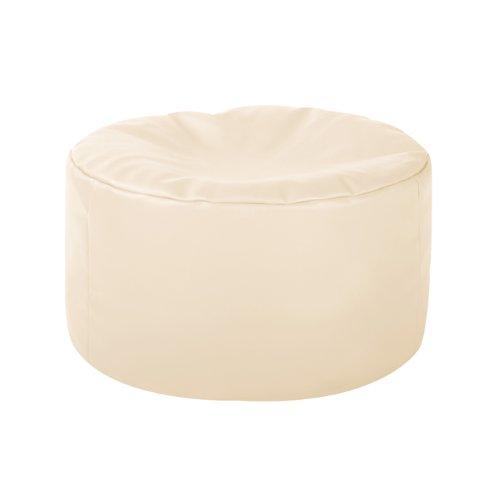 Round Footstool CREAM - Bean Bag Foot Rest