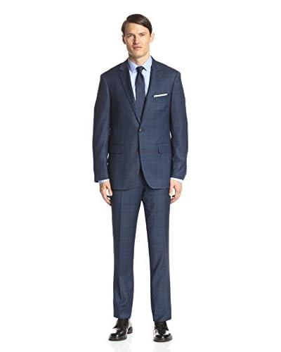 London Fog Men's Windowpane Wool Suit
