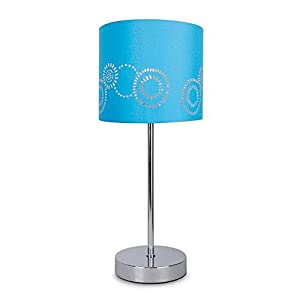 Modern Silver Chrome Touch Table Lamp with a Laser Cut Pattern Blue Shade by MiniSun