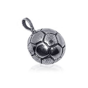 Nickel Free Sterling Silver Soccer Football Charm Sports 22mm x 15mm Pendant