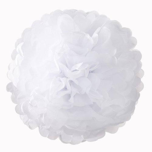 White Tissue Paper Artificial Flowers Pom Poms (10