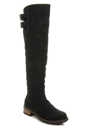 Qupid Relax-01x Women Buckle Knee High Crinkle Pu Fashion Boot Basic Casual Knee High Stacked Heel Riding Black