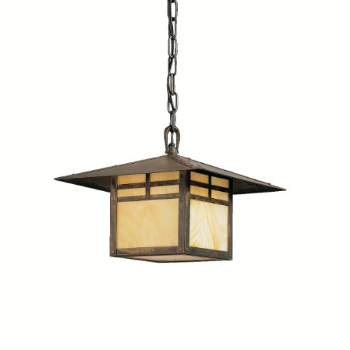 Kichler Lighting 9824CV La Mesa 1-Light Incandescent Outdoor Pendant, Canyon View with Honey Opalescent Glass