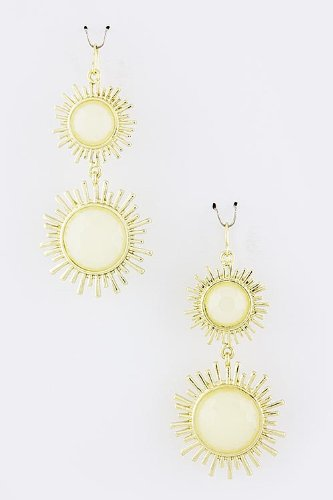 Baubles & Co Round Sunburst Link Earrings (White) front-989736