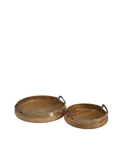 Set of 2 Vallari Round Wood Trays