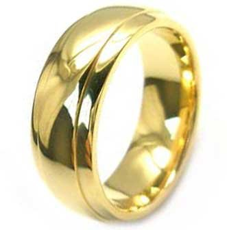 8MM High Polished Gold Plated Stainless Steel Ring For Men