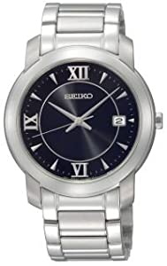 Unisex Seiko SGEE95@Mns Silvertone Bracelet Black dial Date
