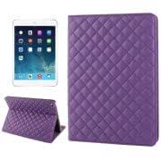 Plaid Texture Leather Case with 3 Gears Holder Sleep / Wake-up Function for iPad Air (Purple)