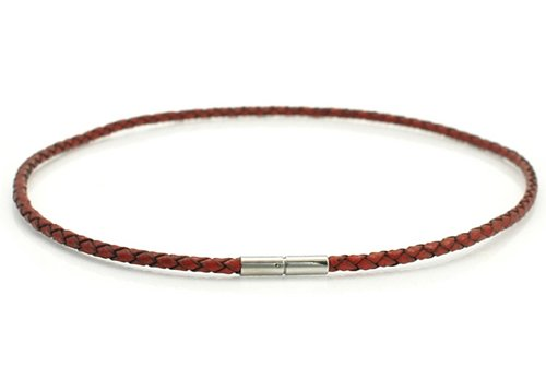 Reddish Brown Plait Braided Bayonet Leather Choker With Stainless Steel Clasp