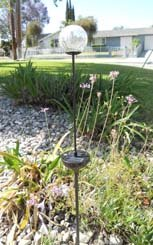 Solar Powered Color Changing Crackle Finish Glass Garden Pathway Stake Light
