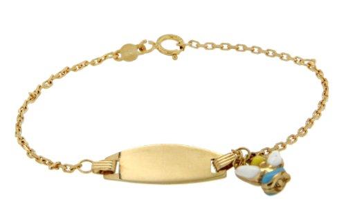 9ct Yellow Gold Children's Enamel Angel Charm ID Bracelet 14cm/5.5