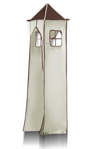 Lit surélevé d'enfant avec tour et toboggan bois de pin massif verni en couleur naturelle - Pirat marron/beige - SHB/65/1033